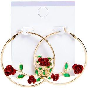 Hand made gold rose hoop earrings ❤️🌹